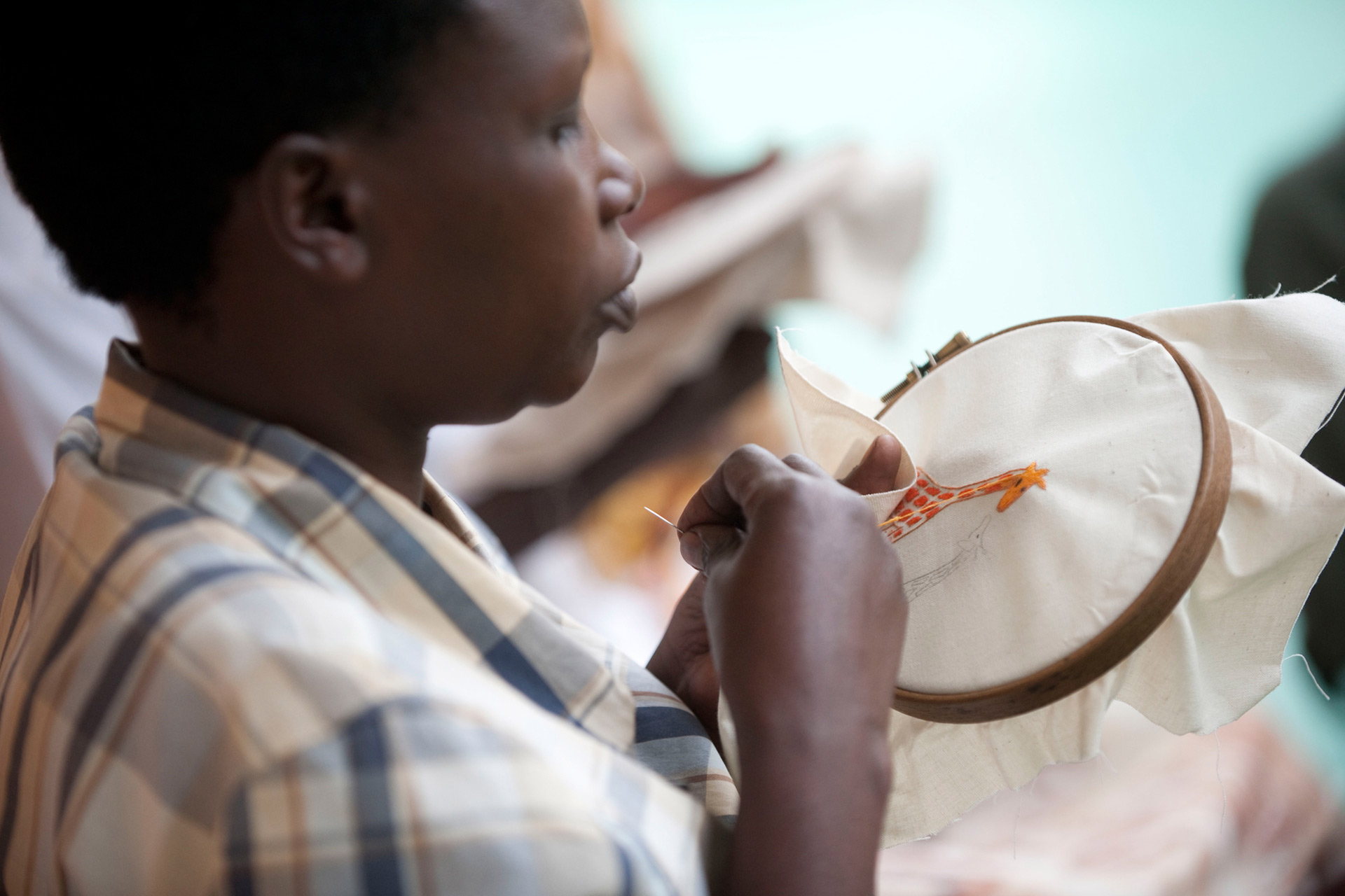 Broderie girafe - embroidery giraffe Ibaba Rwanda